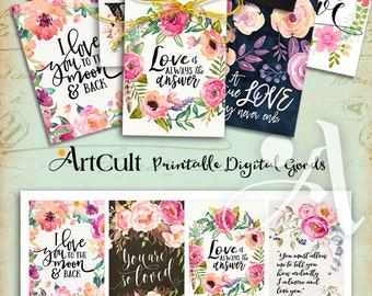 Printable gift tags ALL ABOUT LOVE digital download valentine quotes greeting cards collage sheet 2.5x3.5 inch size hang tags ArtCult design