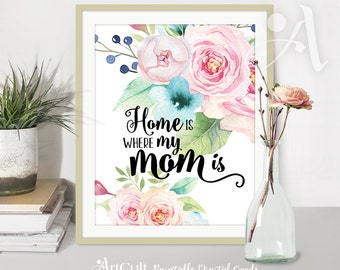 "Printable wall Art Instant digital Download ""Home is where my MOM is"" quote, watercolor flowers artwork for home decoration ArtCult designs"