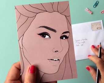 Candice Huffine Greeting Card // female pencil portrait, eyebrow game strong, plus size beauty, celebrate curvy women