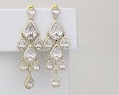 Gold Chandelier earrings, Gold Bridal earrings, Wedding earrings, Crystal earrings, Bridal jewelry, Long earrings, Statement earrings