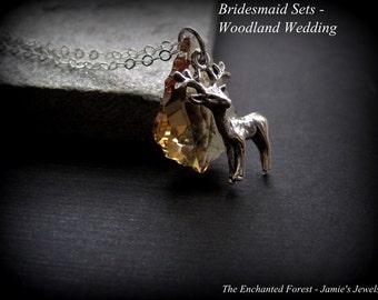 Bridesmaid Jewelry Sets - Sterling Silver Swarovski Crystal Deer Necklaces - Custom Bridesmaid Gifts - Nature Wedding - Woodland Wedding