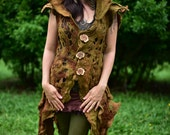 SALE was 680USD - Felt Druid Costume-Woodland Nymph Coat-Goddess Of The Deep Hidden Forests Gown-Tree Costume-Adult Fantasy Costume OOAK