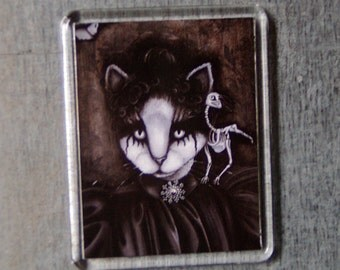 Cat Art Magnet Victorian Gothic Cat Portrait Raven Skeleton Fridge Magnet
