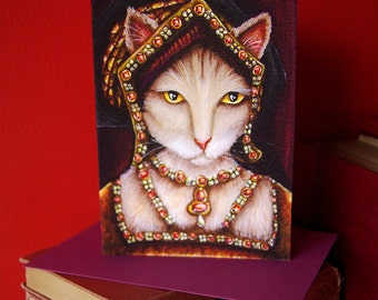 Tudor Cat Card, Jane Seymour Cream Cat, 5x7 Blank Greeting Card, Six Wives of Henry VIII