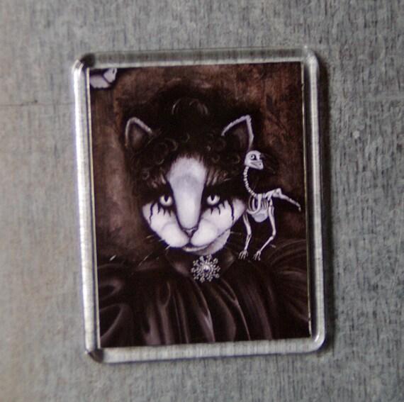 Cat Art Magnet Victorian Gothic Cat Portrait Raven Skeleton Fridge Magnet