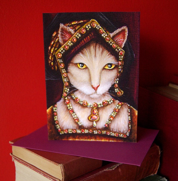 Tudor Cat Card, Jane Seymour Cream Cat, 5x7 Blank Greeting Card, Six Wives of Henry VIII