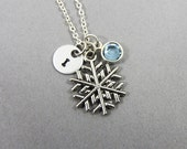 Frozen Snowflake Necklace - Personalized Initial Name, Customized Swarovski crystal birthstone