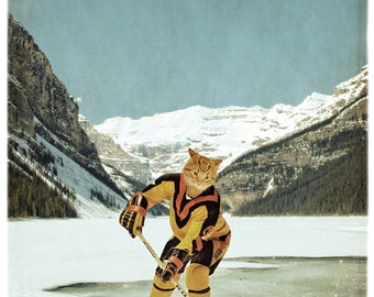 Vancouver Canucks Cat Print NHL Cat Art Lake Louise Ice Hockey Gifts Animal Photography Canadian Sellers Print - The Vancouver Catnucks