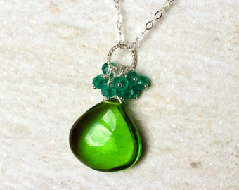 Emerald Green Quartz Necklace on Sterling Silver - Deep Forest by CircesHouse on Etsy