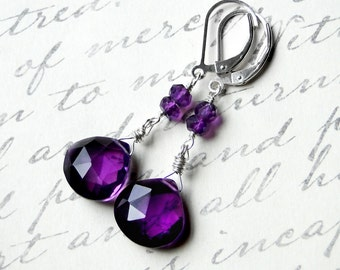 Amethyst Earrings on Sterling Silver - Violets by CircesHouse on Etsy