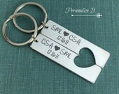 Personalized Keychain, Metal Keychain, Key Ring, Engraved, Gift, Heart, Gift, Keychain Set, His and Hers