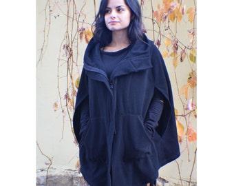 Wool Pancho, Hooded Poncho, Winter Poncho, Black Cape Coat, Hooded Cape, Womens Cape, Womens Cloak, Winter Cape, Wool Cape, Black Cloak