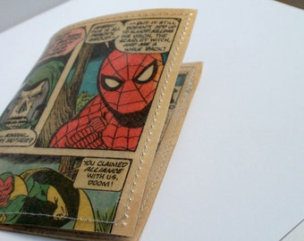 mini wallet UPCYCLED Vintage Spiderman comic book page RECYCLED into gift card or business card holder