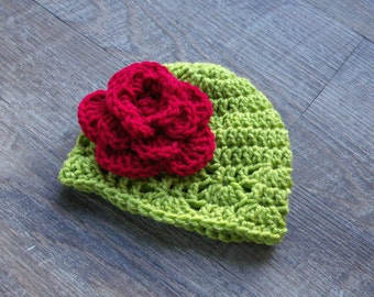 Baby Girl Christmas Hat, Christmas Baby Hat, Baby Flower Hat, Red and Lime Green Crochet Baby Girl Flower Baby Hat