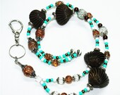 Seashells and Turquoise Beaded Lanyard with Lobster Clasp, Magnetic Break-away Badge Reel Lariat