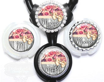 Stethoscope Id Tag - Pink Roses and Polka Dot Ribbon on Gray Fence Littmann Nurse Identification with Name, Monogram, Occupation (A391)