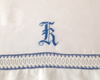 Large Victorian Linen Towel Blue Monogram K Damask Huck