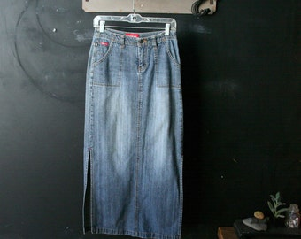 Vintage Maxi Denim Jean Skirt Bohemian Fashion Casual Fashion 1980s Union Bay Size 5 Vintage From Nowvintage on Etsy