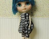 Skull & stripe Romper for Blythe doll, crossbones