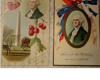 Vintage Antique George Washington Postcards - Set of 2 - 1910