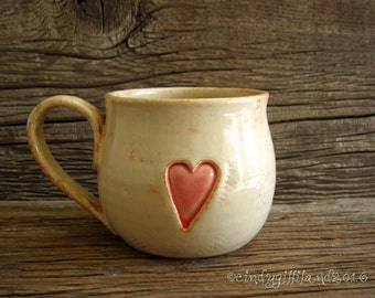 Love Mug with Rustic Heart - Coffee Mug - Large Mug -  by DirtKicker Pottery