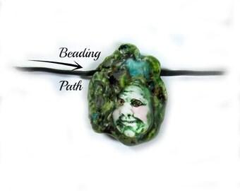 pottery clay bead,handmade clay bead, green bead, face bead   # 50