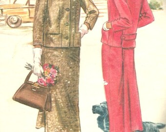 Vintage 50s McCalls 3542 UNCUT Misses Back Belted Jacket and Slim Skirt Suit Sewing Pattern Size 14 Bust 34