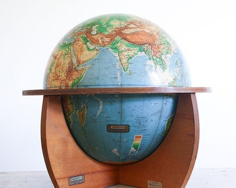 1950's Denoyer Geppert Cartocraft Educational World Globe / Mid Century Wooden Base