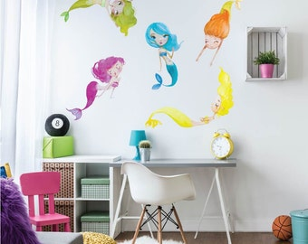 Cute Playful Mermaids Fabric Wall Decals, Repositionable, Removable and Reusable