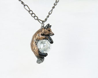 Red Fox Necklace Pendant  Rear View Mirror Dangle