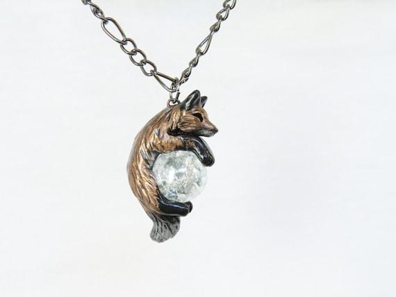 Red Fox Necklace Pendant  Rear View Mirror Dangle