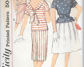 Simplicity 3891 - 1950s Skirt and Sailor Top Set Vintage UNCUT Sewing Pattern Bust 31 32 or 34 Fitted or Pleated Skirt
