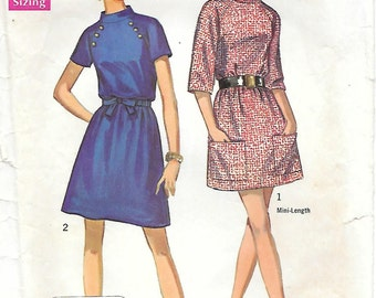 Simplicity 8335 1960s Jiffy Mini Dress with Raglan Sleeves Vintage Sewing Pattern Size 12 Bust 34 Stand Up Collar