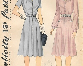Simplicity 3880 1940s Classic Wing Collar Dress Vintage Unprinted Sewing Pattern Size 14 Bust 32 Simple to Make