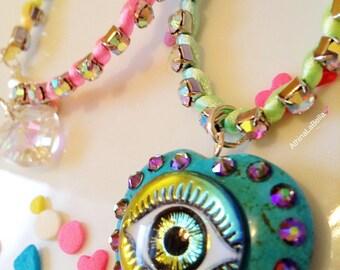 Eye choker, Evil Eye Necklace, 90s Choker, Evil Eye Choker, Good Vibes Necklace, Boho, Good Luck Necklace, Pastel Jewelry, Unicorn Necklace