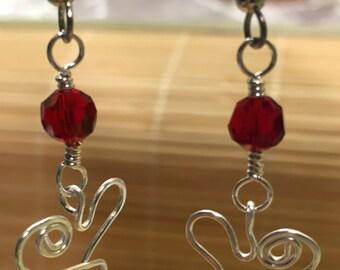Silver Wire Wrapped Heart Dangle Drop Earrings - Red Valentine Jewelry For Women