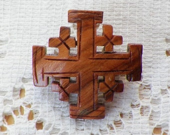 Small Vintage Carved Rounded Wooden / Wood Cross Pin / Brooch / Broach, Large Cross with Four Smaller Crosses, Celtic, Irish