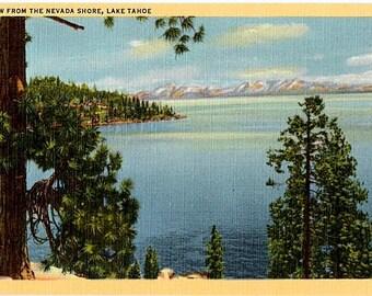 Vintage Lake Tahoe Postcard - Lake Tahoe from the Nevada Shore (Unused)