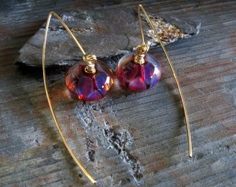 Boro bead glass earrings. Cherry Drop. 14k gold filled artisan jewelry. Funky stylish ear wires. Handmade quality artisan jewelry. For her.