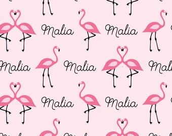 Personalized Flamingo Blanket Name Blanket Monogrammed Blanket Baby Blanket Receiving Blanket Flamingo Swaddle Blanket Flamingo Blanket