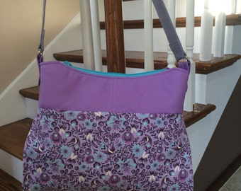 Gabby Handbag - Wisteria and Tula Pink Birds and Bees - Mid-size cotton purse