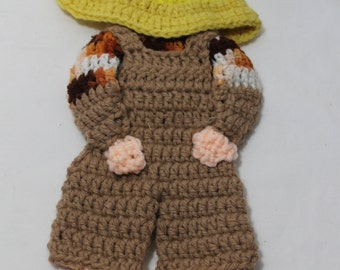 NEW Hand Crocheted Sunbonnet Sam Wall Hanging, Trivet, Potholder, Yellow, Brown