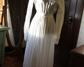 SALE Antique Victorian Sheer Cotton and Lace Wedding Dress Gown, XS Extra Small 0-2
