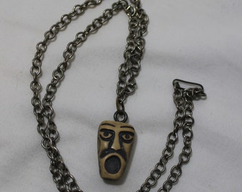 Vintage Tribal Mask Necklace
