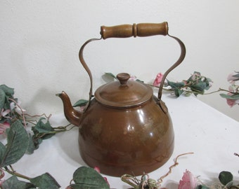 Copper Tea Kettle with Wood Handle Teapot