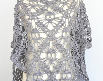 Skull - Gray - Crochet Skull Triangle Shawl