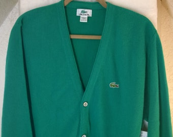 Vintage Cardigan Sweater by Lacoste, Turquoise 100% Orlon Acrylic Made USA