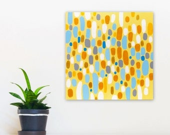Original Abstract Painting, 12x12 Acrylic on Canvas, Modern Wall Art Home Decor, yellow, blue, gold, Southwest Sunset by Jessica Torrant