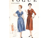 1950s Dress Pattern Vogue 8362 Wide Neckline Button Front Day Dress Hip Pleats, Shirtwaist Dress Bust 34 Womens Vintage Sewing Pattern