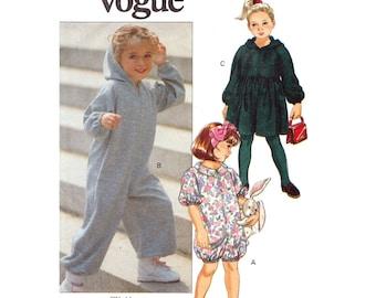Girls Jumpsuit & Dress Pattern Vogue 7953 Kids Hoodie Dress Romper Bubblesuit Zipper Front Toddler Sewing Pattern Size 1 2 3 UNCUT